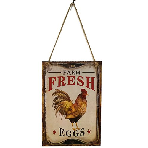 (Cdrox Retro Hen Bauernhof-frische Eier Brief aus Holz Plaque-Wand-Dekor-hängende Anhänger Zeichen-Brett für Bauernhof Farm Plank Dekoration)