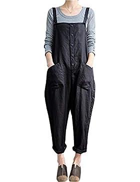 BLACKMYTH Donna Cotone Lino Harem Pantaloni Bavaglino Tute Overalls Casual Low Crotch Loose Pants Larghi