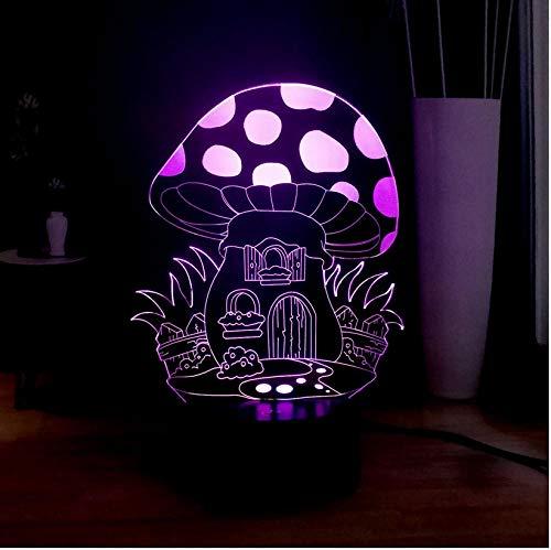 Schlummerleuchten Märchen Pilz Haus 3D visuelle Lampe LED Nachtlicht Kinder Mädchen Liebe Nachttischlampe Schlaf Fairy Room Decor Geburtstagsgeschenk -