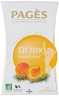 PAGÈS Infusion Detox Romarin/Abricot Bio 20 Sachets 30 g - Lot de 3