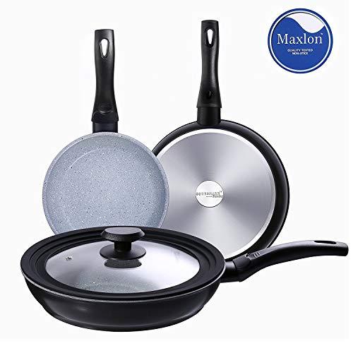 COOKSMARK® Faraday Juego de 3 Sartenes Inducción de 20 24 28cm Sartén Antiadherente Cocina con Tapa Universal de Cristal de Color Granito Apta para Lavavajillas