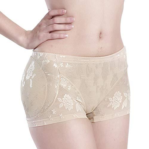 IZHH Plus Size Lingerie Panties Damen Interieur Push Up Gepolsterte Gefälschte Arsch Unterwäsche Große Größe Bauch Hüften Unterwäsche Mit Schwammauflage(Beige,3XL)