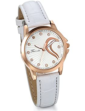 JewelryWe Damen Armbanduhr, Elegant Charm Semi Herz Analog Quarz Uhr mit Leder Armband & Rose Gold Uhrgehäuse,...