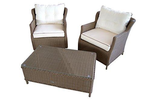 Conjunto de muebles clásicos de ratán, elegantes y cómodos. Con estructura de aluminio de alta calidad y cojines de 10cm, muebles de mimbre para jardín y patio.