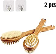 CHAYA Bathing Bamboo body brush scrubber – natural super soft bristle shower hair removal brush with long hand