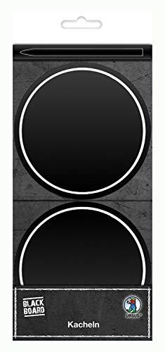 Ursus 42890000Pizarra Pantalla baldosas, Negro Mate, diámetro Aprox. 10cm, 8Unidades