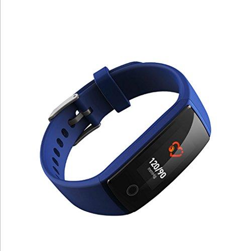 HUOQILIN Bluetooth Armband herzfrequenz blutdruck Gesundheit zifferblatt Definition Mode großen Bildschirm Sport smart Armband (Color : Blue) (Tägliche Anrufer)