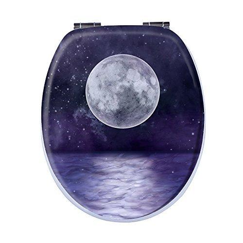 Aquashine® Premium WC-Sitz | spektakuläre 3D Motive | Universal Toilettensitz mit Soft-Close Funktion | Einfache Montage von oben (3D Moon)