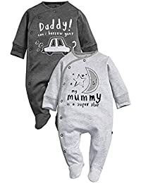 next Bebés Niños Paquete De 2 Pijamas Peleles Rosas Mum And Dad Azul Marino Pizarra (0 Meses-2 Años)