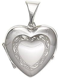 20mm de ancho diseño satinado corazón grabado corazón locket–Plata de Ley 925–se envía en caja de regalo gratis o bolsa de regalo