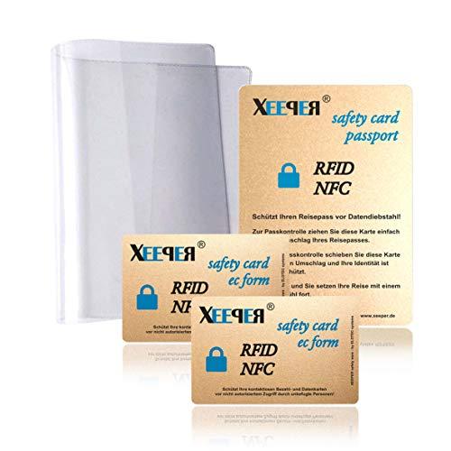 1. RFID/NFC Blocker Karten Set - für den perfekten Schutz All Ihrer Karten und den ePass Plus eine original glasklare Reispass Schutzhülle | Keine zusätzlichen Störsender am Körper | kein Elektrosmog
