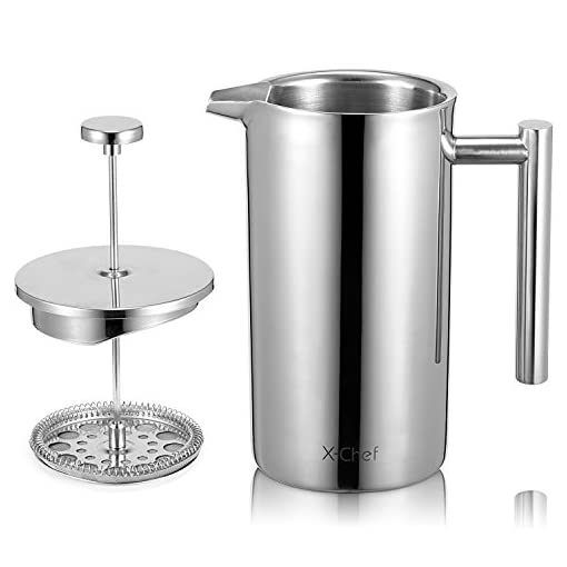 X-Chef Double Walled Stainless Steel Cafetiere French Press Coffee Maker