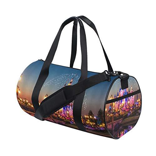 NR Sporttasche Fitnesstasche Tasche Reisetasche Bag Mehrere Stiloptionen,Traumschloss Bunte schöne Nacht,Männer & Frauen Sport,Travel,Fitness,Gym Handgepäck