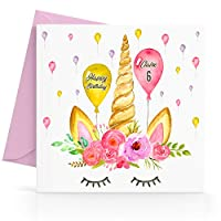Personalised Unicorn Girls Birthday Card Any Age, Relative & Message