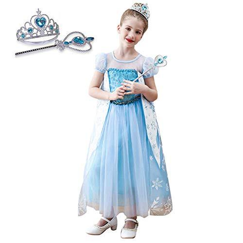 Schneekönigin Prinzessin Kleid mit Prinzessin Krone und Zauberstab, blau Polyester weiches Gewebe, für 3-14 Mädchen Halloween Kostüm Party Kostüm Ball (Fairy Princess Dress Up Kostüm)