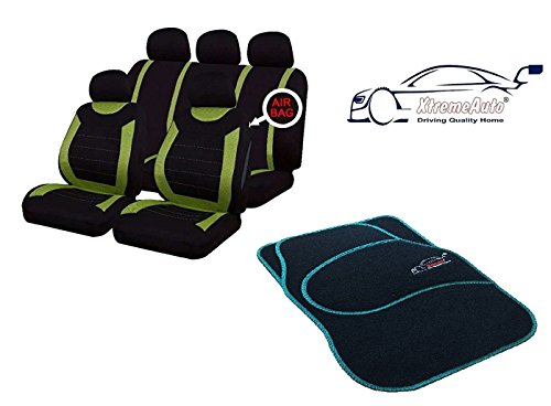XtremeAuto® 9 PCE Sports Carnaby Green / Black Seat Covers + Matching Mat Set Complete with Sticker