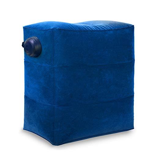 Reisen Fußstütze Kissen 2 in 1 tragbare aufblasbare Push-Typ Inflation einstellbare DREI Schichten Höhe Kissen für Fußstütze in Flugzeugen, Autos, Bussen(blau, 1 Packung)
