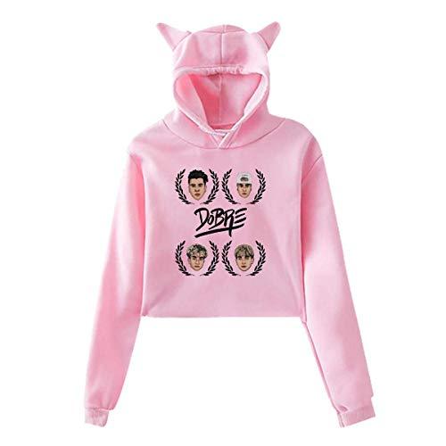 UfashionU Jugend Mädchen Katze Ohr Hoodie Dye Dobre Brothers Print Pullover Kapuzen Sweatshirt Hoodies für große Mädchen Kleidung (Pink2, 2XL) -