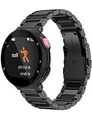 Fulltime® Metal acero inoxidable reloj correa de banda para Garmin Forerunner 220 230 235 630 620 735 (Negro)
