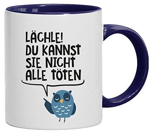 Lustige Geschenkidee Bürohumor Kaffeetasse 2-farbige Tasse Lächle du kannst sie nicht alle töten, Größe: onesize,weiß/blau (Blaue Tasse Eule Kaffee)
