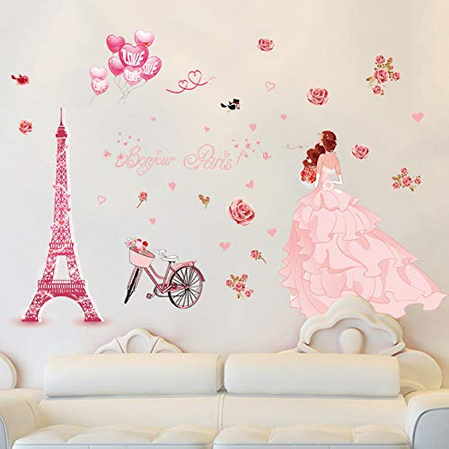 GZZQTT Romantische Rosa Hochzeit Mädchen Wand Aufkleber Paris Turm Ballon Rose Blume Fahrrad Mädchen Prinzessin Zimmer Wohnzimmer Dekoration Aufkleber - Paris-wand-aufkleber