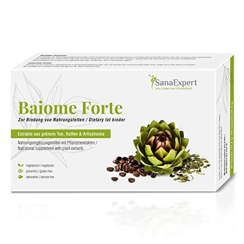 SanaExpert Baiome Forte, Pflanzlicher Fettbinder mit Artischocken-Extrakt, Kaktus, Grüntee, Grüner Kaffee, vegetarisch, glutenfrei, 60 Kapseln (1)