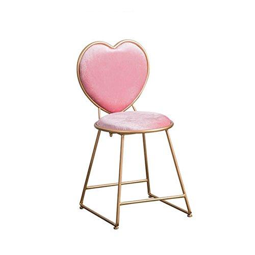 YSDHE Herzförmiger Stuhl, rosa Metallstuhlverfassungshocker-Restaurantkaffeestube-Kuchenshopstuhl-Mädchenstuhl (Size : 40 * 45 * 80CM) (Rosa Antiker Stuhl)
