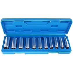 TecPo Steckschlüssel Satz 3/8 Antrieb 8-19 mm Stecknüsse lang Nuss Set Schrauben Nüsse