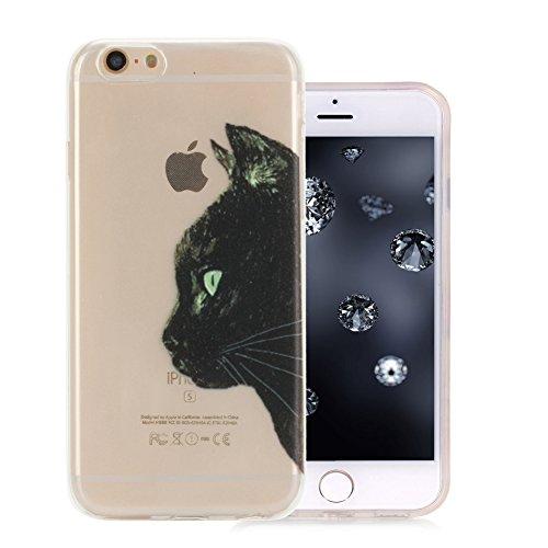 iPhone 6S plus Slimcase,iPhone 6 plus Klar Schutzhülle, Aeeque® [Schwarzen Katze Kopf Muster] Stabil Ultra Dünn Weich Kratzfest Silikon Durchsichtig Zurück Bumper Back Case Cover für Apple iPhone 6 plus (Katze Schwarze Passt)