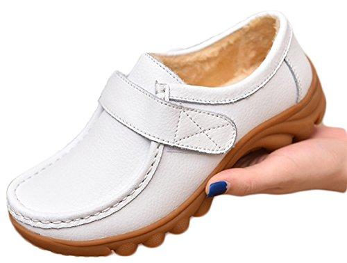 NEWZCERS Driving Shoes Molli Delle Donne di Cuoio Velcro Appartamenti Mocassini Scarpe da Barca Fustigano Bianco aggiungere peluche