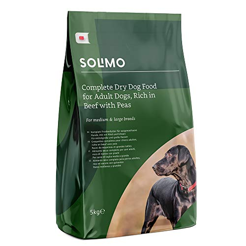 Marchio Amazon -Solimo Alimento secco completo per cani adulti ricco di manzo con piselli, 2 confezioni da 5 kg