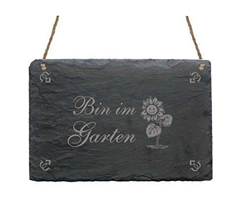 SCHIEFERPLATTE SCHILD « BIN IM GARTEN » mit MOTIV Haushalt Dekoschild Dekoration Gärtner Florist