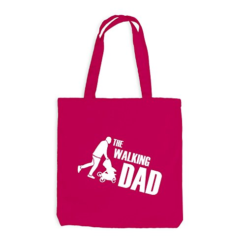 Jutebeutel - The Walking Dad - Fun Papa Father Pink