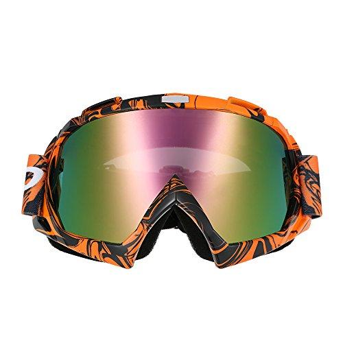 KKmoon Gafas de Moto Ciclismo Antipolvo Anti-niebla Protección Máscara para Motocross Esquí Deporte Ajustable