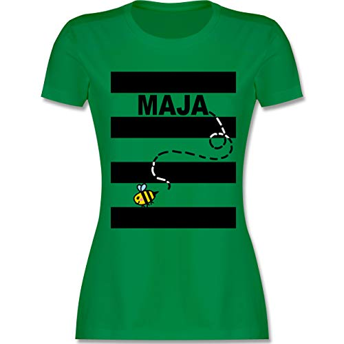 Karneval & Fasching - Bienen Kostüm Maja - M - Grün - L191 - Damen Tshirt und Frauen T-Shirt (Kostüm Zeichnungen)