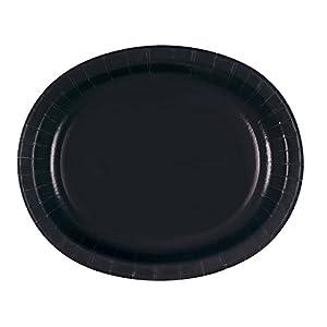 Unique Party Paquete de 8 platos ovalados de papel Color negro 32079