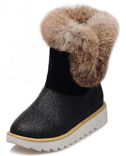 SMITHROAD Damen Mädchen Kurzschaft Winterstiefel Schlupfstiefel Winter Outdoor Boots Klassisch Schneestiefel in 3 Farben Gr.34-41 Schwarz