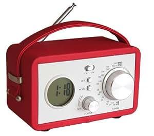 radio reveil vintage rouge high tech. Black Bedroom Furniture Sets. Home Design Ideas