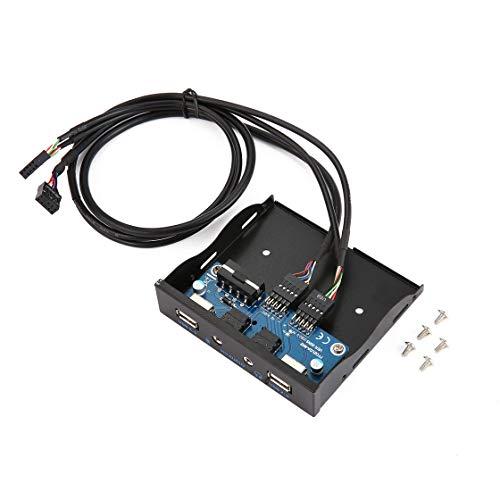 Hermosairis 3.5 '' 2-USB 2.0-Anschluss HUB HD-Audio-Ausgang Diskettenlaufwerk Erweiterung Frontplatte Digital-Mobil-Rack für Ihren PC erweitern