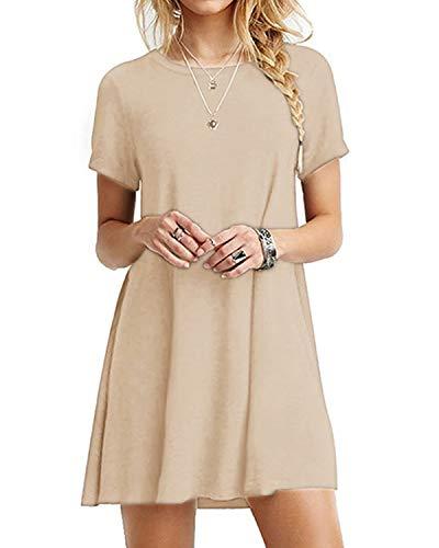 YOINS Sommerkleid Damen Tunika Tshirt Kleid Bluse Kurzarm MiniKleid Boho Maxikleid Rundhals Khaki EU44 - Khaki T-shirt Kleid