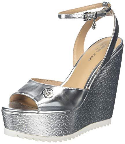 Armani Jeans Damen Sandalia Metalizada Plataforma Keil Sandalette, Silber, 39 EU