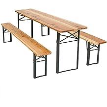 TecTake Conjunto de muebles mesa y bancos para cervecería en carpa al aire libre madera – 3 piezas - Mesa: aprox. 175 x 50 x 76cm - Banco: aprox. 178 x 50 x 6,5cm