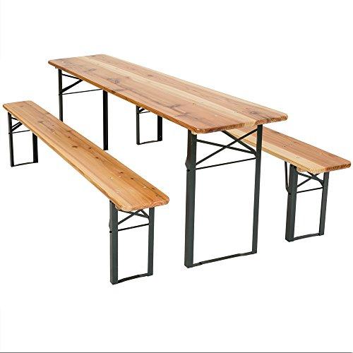 TecTake Conjunto de muebles mesa y bancos para cervecería en carpa al aire libre madera - 3 piezas - Mesa: aprox. 175 x 50 x 76cm - Banco: aprox. 178 x 50 x 6,5cm
