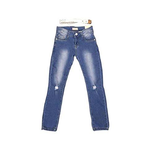 Palleon Mädchen Jeans Kinder Jeanshose + Gürtel 12/152 / blau -