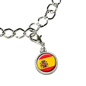 Spain Spanish Flag Silver Plated Bracelet with Antiqued Charm