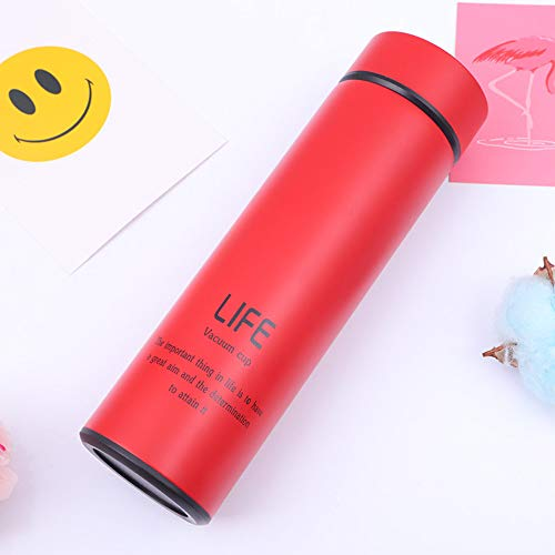 SUMHOM Neue gerade Gummifarbe Business High-End Geschenk gerade Tasse Edelstahl Becher, 500ml, rot