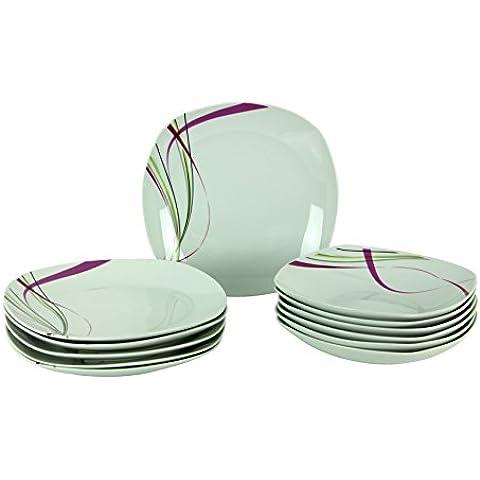 Van Well Fashion–Vajilla, porcelana, para 6comensales), con líneas ornamentales