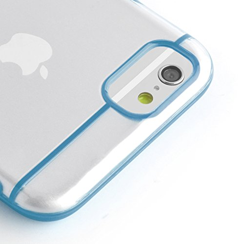 JAMMYLIZARD | Aluminium Bumper Hülle für [ iPhone 6 4.7 Zoll ], BLAU Umrandung in TÜRKIS