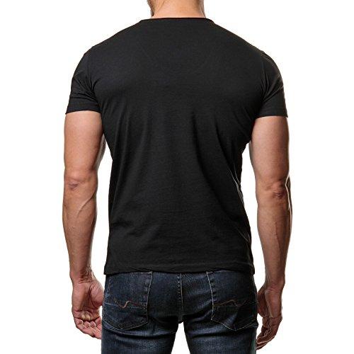 EightyFive Herren T-Shirt Basic Regular Fit Rundhals Kragen Schwarz Weiß Blau Beige EF-2823 Schwarz