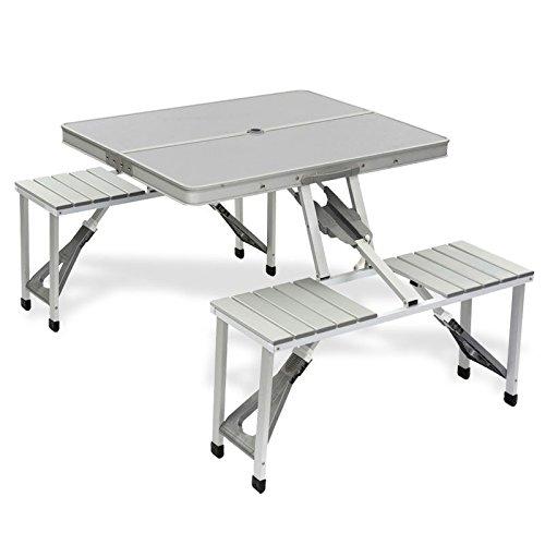 Bo-Camp Aluminium Picknicktisch / Campingtisch 4 Sitzer - 86 x 68 x 41 cm - klappbar zum Tragekoffer